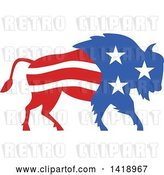 Vector Clip Art of Retro American Stars and Stripes Buffalo by Patrimonio