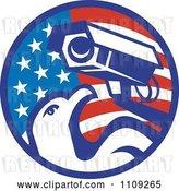 Vector Clip Art of Retro American Surveillance Security Camera and Bald Eagle over a Circle Flag by Patrimonio