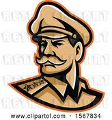 Vector Clip Art of Retro American Three Star General Wearing a Peaked Cap by Patrimonio