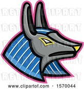 Vector Clip Art of Retro Ancient Egyptian Mascot of Anubis by Patrimonio