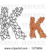 Vector Clip Art of Retro and Colored Floral Capital Letter K Designs by Vector Tradition SM