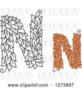 Vector Clip Art of Retro and Colored Floral Capital Letter N Designs by Vector Tradition SM