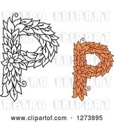 Vector Clip Art of Retro and Colored Floral Capital Letter P Designs by Vector Tradition SM