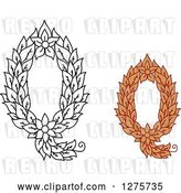 Vector Clip Art of Retro and Colored Floral Capital Letter Q Designs by Vector Tradition SM