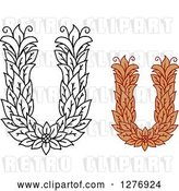 Vector Clip Art of Retro and Colored Floral Capital Letter U Designs by Vector Tradition SM