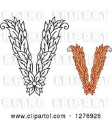 Vector Clip Art of Retro and Colored Floral Capital Letter V Designs by Vector Tradition SM