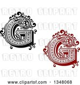 Vector Clip Art of Retro and Red Capital Letter G with Flourishes by Vector Tradition SM