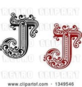 Vector Clip Art of Retro and Red Capital Letter J with Flourishes by Vector Tradition SM