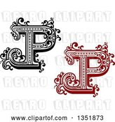 Vector Clip Art of Retro and Red Capital Letter P with Flourishes by Vector Tradition SM