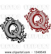 Vector Clip Art of Retro and Red Capital Letter Q with Flourishes by Vector Tradition SM