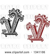 Vector Clip Art of Retro and Red Capital Letter V with Flourishes by Vector Tradition SM