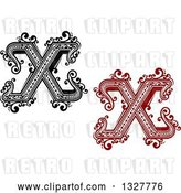 Vector Clip Art of Retro and Red Capital Letter X Designs with Flourishes by Vector Tradition SM