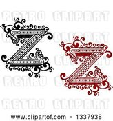 Vector Clip Art of Retro and Red Capital Letter Z with Flourishes by Vector Tradition SM