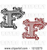 Vector Clip Art of Retro and Red Letter F by Vector Tradition SM