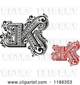 Vector Clip Art of Retro and Red Letter N by Vector Tradition SM