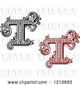 Vector Clip Art of Retro and Red Letter T by Vector Tradition SM