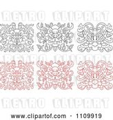 Vector Clip Art of Retro and Red Oriental Floral Design Elements by Vector Tradition SM