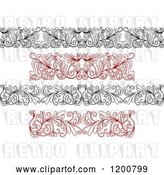Vector Clip Art of Retro and Red Ornate Floral Borders by Vector Tradition SM