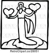 Vector Clip Art of Retro Angel and Hearts Icon by Prawny Vintage
