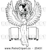 Vector Clip Art of Retro Angel Holding the World over a Banner by Prawny Vintage