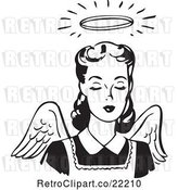 Vector Clip Art of Retro Angel Lady with Wings and a Halo by BestVector