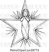 Vector Clip Art of Retro Angelic Child over a Star by Prawny Vintage