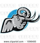 Vector Clip Art of Retro Angry African Elephant with Tusks over a Blue Circle by Patrimonio
