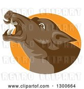 Vector Clip Art of Retro Angry Brown Boar Head in an Orange Oval by Patrimonio