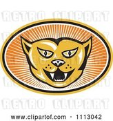 Vector Clip Art of Retro Angry Cat Face in an Oval of Rays by Patrimonio
