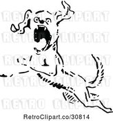 Vector Clip Art of Retro Angry Dog Leaping by Prawny Vintage
