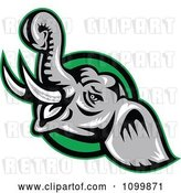 Vector Clip Art of Retro Angry Elephant over a Green Circle by Patrimonio