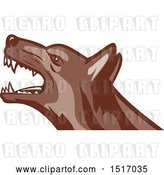 Vector Clip Art of Retro Angry German Shepherd Guard Dog by Patrimonio