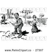 Vector Clip Art of Retro Angry Golfer and People with a Broken Club by Prawny Vintage