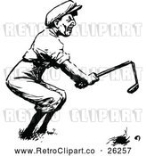 Vector Clip Art of Retro Angry Golfer Breaking a Club by Prawny Vintage