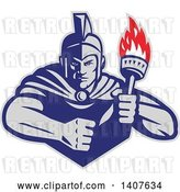 August 14th, 2018: Vector Clip Art of Retro Angry Greek Warrior Holding a Flaming Torch, with a Balled Fist by Patrimonio