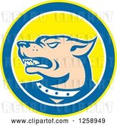 Vector Clip Art of Retro Angry Guard Dog in a Yellow Blue and White Circle by Patrimonio