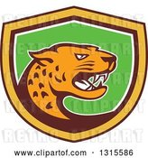 Vector Clip Art of Retro Angry Jaguar Cat in a Brown Yellow White and Green Shield by Patrimonio