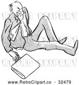 Vector Clip Art of Retro Angry Man After Falling Black and White by Picsburg