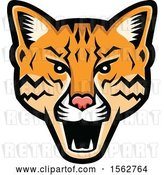 Vector Clip Art of Retro Angry Ocelot Cat Mascot Head by Patrimonio