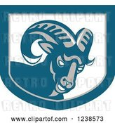 Vector Clip Art of Retro Angry Ram Goat in a Shield by Patrimonio