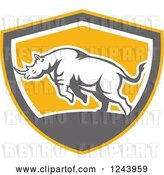 Vector Clip Art of Retro Angry Rhinoceros Charging in a Shield by Patrimonio