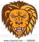 August 14th, 2018: Vector Clip Art of Retro Angry Roaring Male Lion Face by Patrimonio