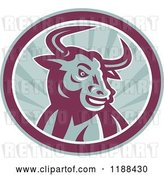 Vector Clip Art of Retro Angry Texas Longhorn Bull in a Circle of Rays by Patrimonio