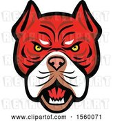 Vector Clip Art of Retro Angry Tiger Bulldog Dog Mascot by Patrimonio