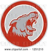 Vector Clip Art of Retro Angry Wolf in a Gray and Red Circle by Patrimonio