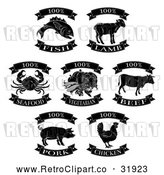 Vector Clip Art of Retro Animal Meat Food Labels - Black and White Versions by AtStockIllustration