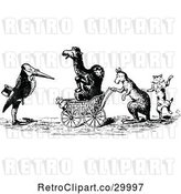 Vector Clip Art of Retro Animals with a Carriage by Prawny Vintage