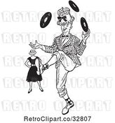 Vector Clip Art of Retro Annoyned Lady Watching a Teenage Boy Showing off His Juggling Talents in by Picsburg