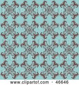Vector Clip Art of Retro Antique Blue Background with a Floral Pattern by KJ Pargeter
