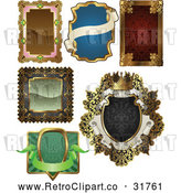 Vector Clip Art of Retro Antique Frame Designs - Digital Collage by AtStockIllustration